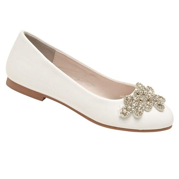 New girl/'s kids slip on flats white casual summer flower girl formal synthetic