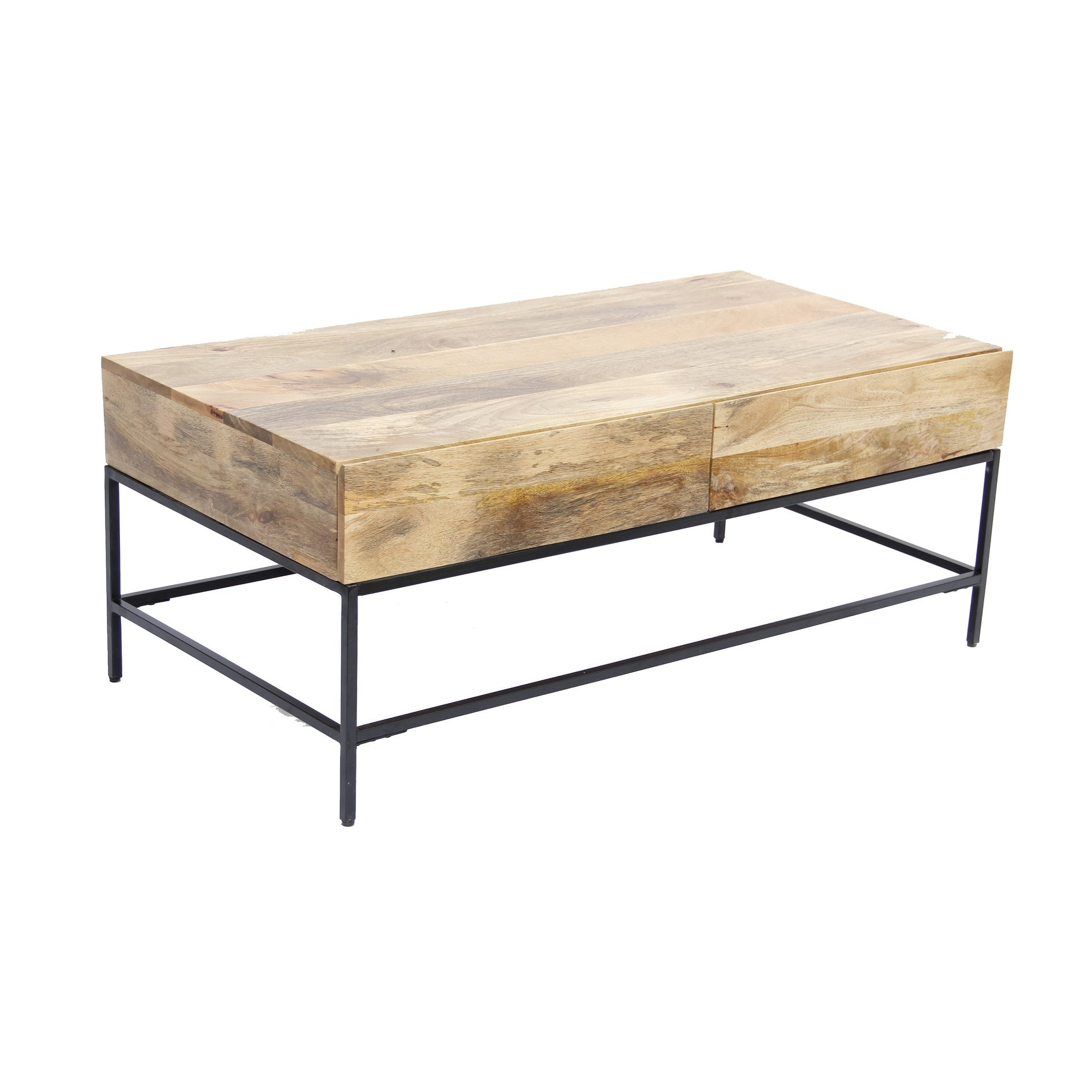 Picture of: Mango Wood Coffee Table With 2 Drawers Brown And Black Overstock 18151641