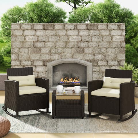 Corvus Fatih 3-piece Outdoor Wicker Rocking Chat Set with Cushions