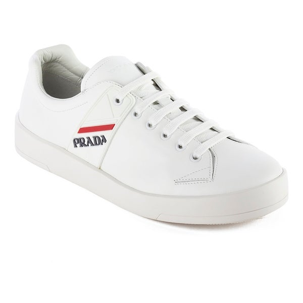 bac4dc05 Shop Prada Men's Leather Sneaker Shoes White - Free Shipping Today ...