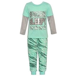 Little Girls Aqua Silver Glitter Letter Stripe Print 2 Pc Pajama Set 6X