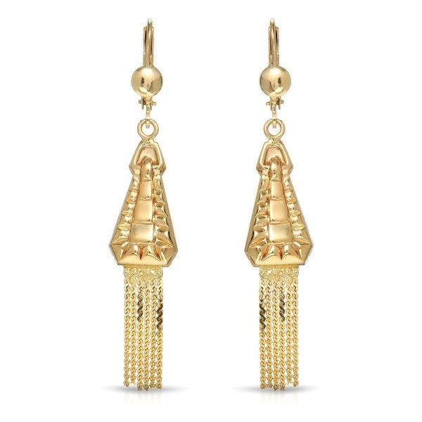 Mcs Jewelry Inc 10 KARAT YELLOW GOLD LEVERBACK DROP DANGLING STRAND EARRINGS 57MM