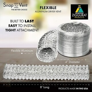 Snap to Vent Flexible Aluminum Dryer Hose 4 in. dia. x 8 ft. long - Silver - N/A