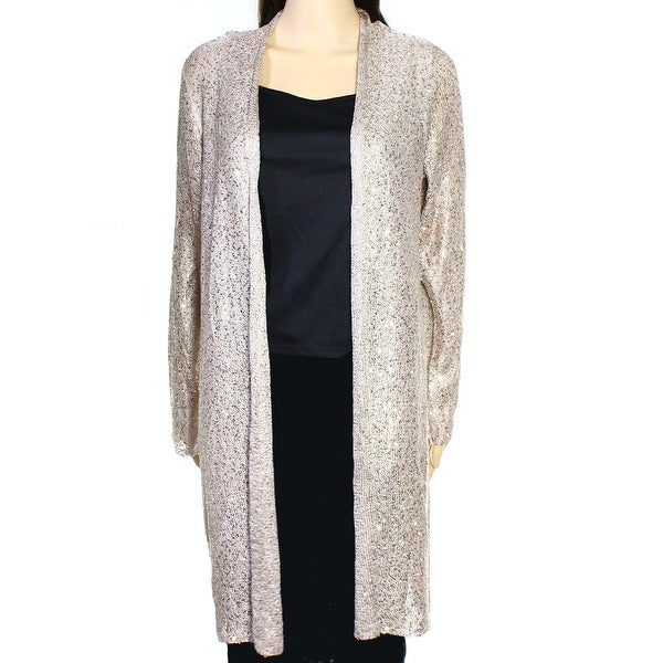 Alfani NEW Silver Womens Size Small S Open-Front Sequin Cardigan ...