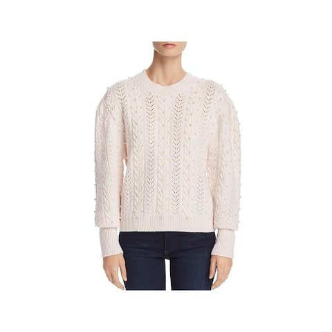 Joie Womens Tinala Crewneck Sweater Cable Knit Embellished - Antique White