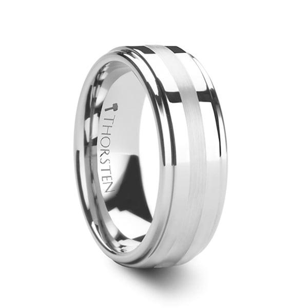 Hadrian Palladium Inlaid Raised Center Tungsten Carbide Ring