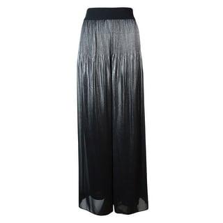 Alfani Women's Pleated Wide Leg Metallic Chiffon Pants