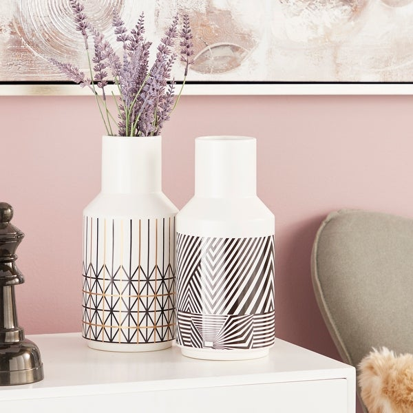 """Eclectic White Vases with Black & Gold Boho Patterns Set of 2 5"""" x 11"""". Opens flyout."""