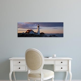 Easy Art Prints Panoramic Image 'Lighthouse on the coast, Portland Head Light, Cape Elizabeth, Maine' Canvas Art