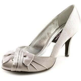Nina Forbes Women W Peep-Toe Canvas Silver Heels