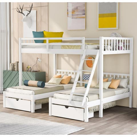 [Pre Sale]Wood Triple Bunk Bed with Drawers and Guardrails(White)