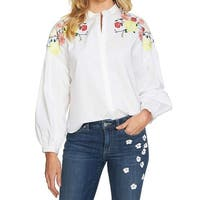 Cece White Women's Size XL Floral Embroidered Button Down Blouse