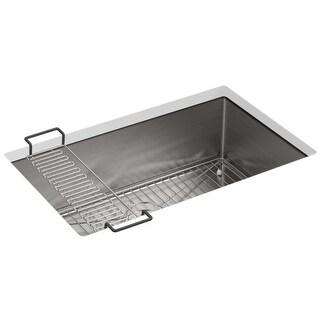 "Kohler K-5409  Strive 29"" Single Basin Undermount 16-Gauge Stainless Steel Kitchen Sink with SilentShield with Basin Rack and"