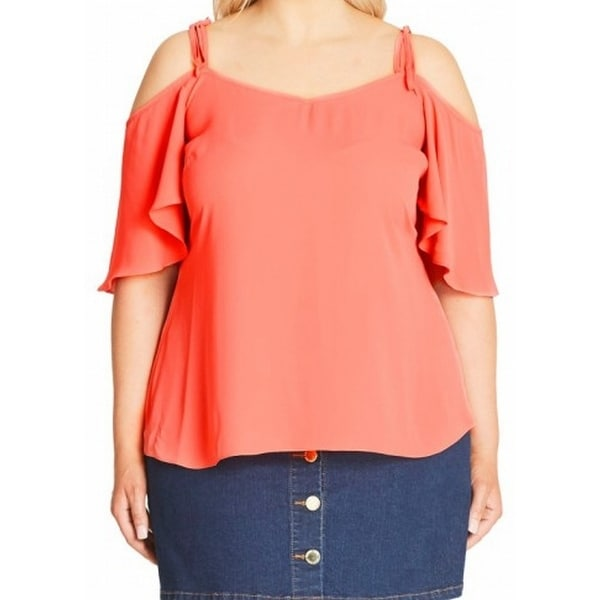 a1cedd2bcfd Shop City Chic NEW Orange Women s Size 18W Plus Cold Shoulder Blouse - Free  Shipping On Orders Over  45 - Overstock.com - 18372032