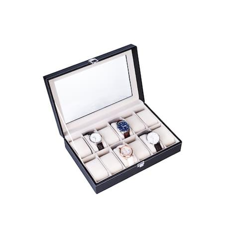 High-grade Leather Watch Storage Box Black