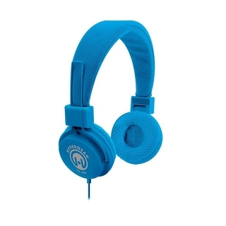 HyperGear Hi-Fi Stereo Headphones Over Ear with Built-In Inline Mic Cable, Blue