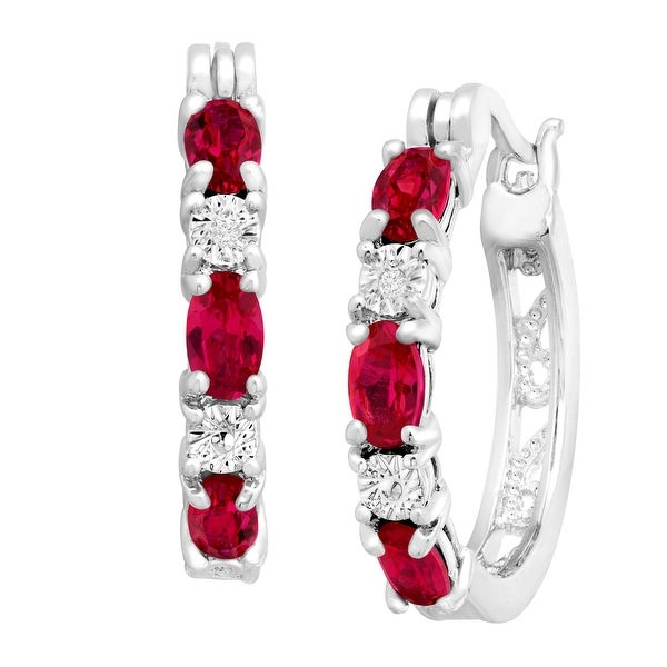 2 Ct Created Ruby Hoop Earrings With Diamond Accents In Platinum by Generic