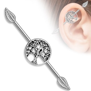 """Tree of Life Center with Leaf Ends Surgical Steel Industrial Barbell-14GA-1& 1/2"""" Length(Sold Ind.)"""