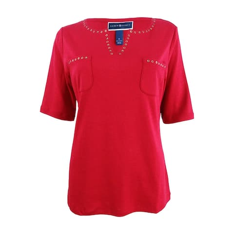 Karen Scott Women's Cotton Spit-Neck Studded Top - New Red Amore