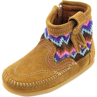 Minnetonka Sweater Bootie Toddler Round Toe Suede Brown Ankle Boot