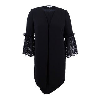 Tahari ASL Women's Lace-Sleeve Dress Suit (8, Black) - Black - 8