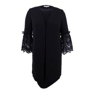 Tahari ASL Women's Plus Size Lace-Sleeve Dress Suit - Black
