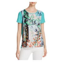 Finity Womens Tunic Top Sheer Printed