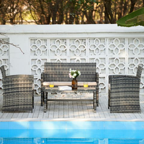 CO-Z 4 Piece Outdoor Patio Furniture Sofa Seating Set, Table & Chairs