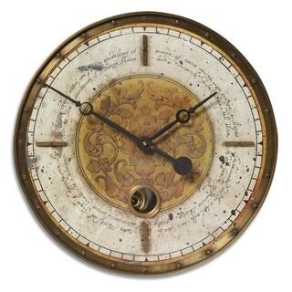 "18"" Weathered Cream and Brass Internal Pendulum Wall Clock"