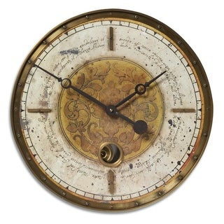 "18"" Weathered Cream and Brass Internal Pendulum Wall Clock"