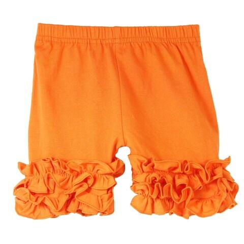Girls Orange Elastic Waist Ruffle Bottom Icing Boutique Shorts