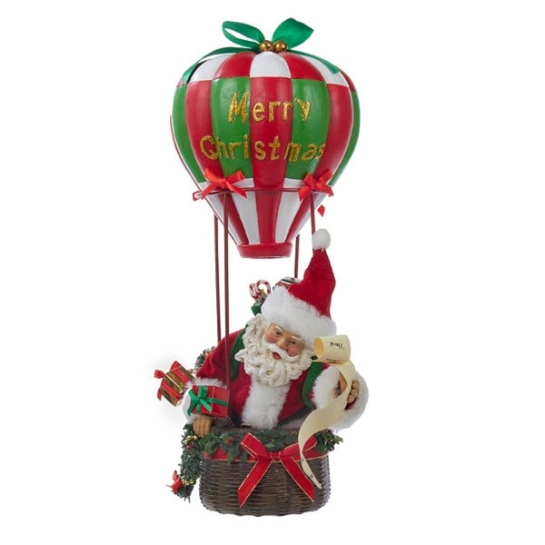 """15"""" Fabriche Musical Santa in Hot Air Balloon Christmas Table Top Decoration - RED"""