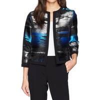 Kasper Black Womens Size 4 Metallic Open-Front Printed Jacket