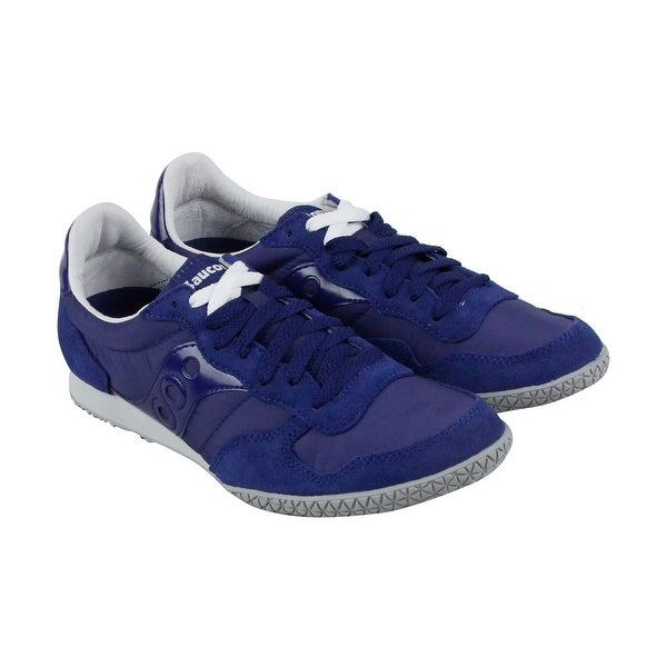 Saucony Bullet Womens Blue Suede Athletic Lace Up Running Shoes