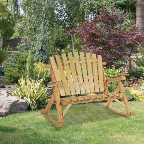 Outsunny Adirondack Rocking 2-Person Chair with Slatted Design and Oversize Back for Porch, Poolside, or Garden Lounging