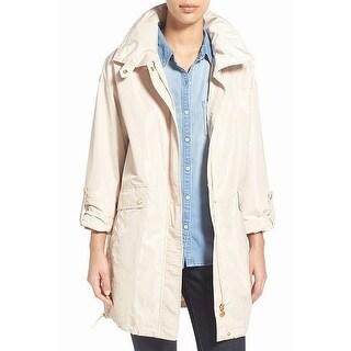 Ellen Tracy Beige Womens Size Medium PM Petite Packable Raincoat
