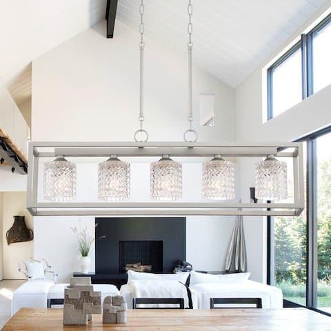 5 Light 37 Inch Linear Modern Farmhouse Rectangle Chandelier