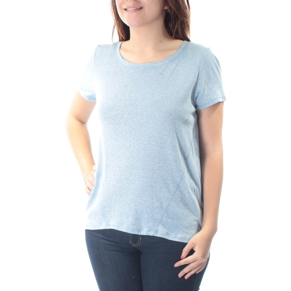 fe0a019a615 Shop Womens Light Blue Short Sleeve Jewel Neck Hi-Lo Top Size S - Free  Shipping On Orders Over $45 - Overstock - 21313143