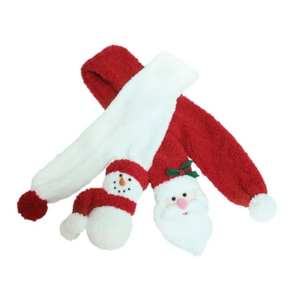 Set of 2 Cute Fluffy Plush Santa & Snowman Relief Faces Christmas Scarves 54""