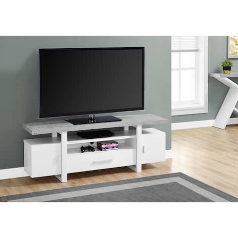 Monarch 2725 White Cement-Look Top 60nch Tv Stand