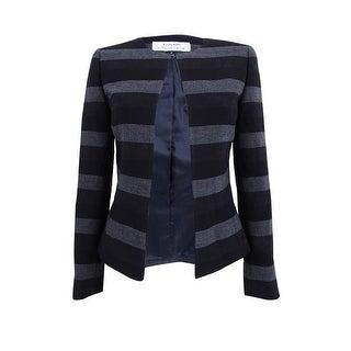 Tahari ASL Women's Stripe Open Jacket - Black/Grey