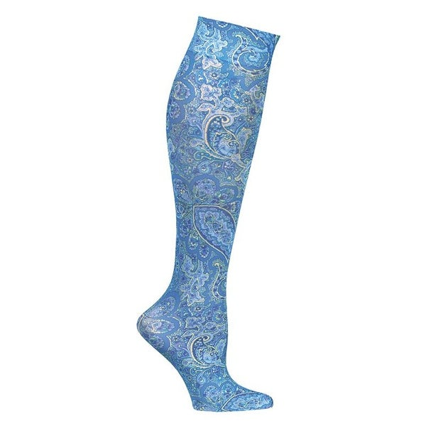 Celeste Stein Women's Mild Compression Knee High Stockings - Blue Paisley - Medium