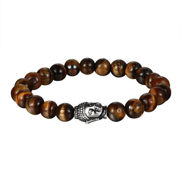 Tiger Eye Bead Bracelet Buddha Head Link Silver Tone Stainless Steel Shamballa