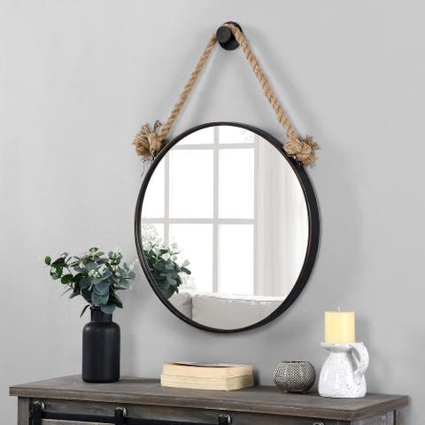 FirsTime & Co.® Dockline Round Mirror, American Crafted, Oil Rubbed Bronze, Mirror, 22 x 2 x 33.5 in - 22 x 2 x 33.5 in