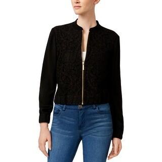MICHAEL Michael Kors Womens Bomber Jacket Lace Overlay Long Sleeves - xs