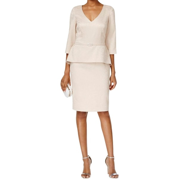 Alex Evenings Womens Petites Formal Dress Embellished Peplum