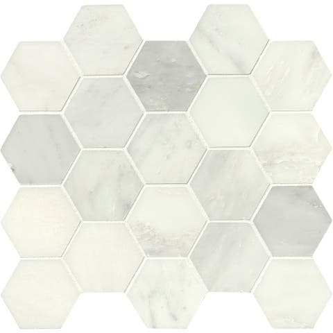 "MSI SMOT-3HEXP Greecian White - 3"" x 3"" Hexagon Mosaic Tile - Polished"