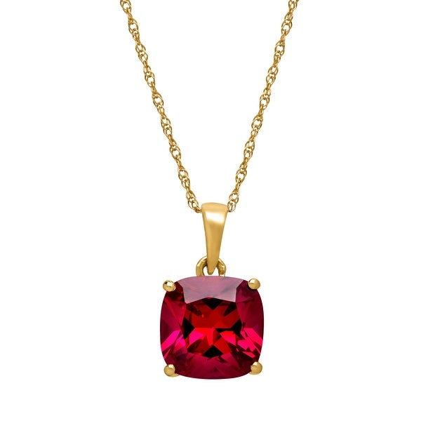 "2 7/8 ct Cushion-Cut Created Ruby Solitaire Pendant Necklace in 14K Yellow Gold, 18"" - Red"