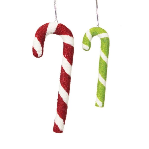 Pack of 6 Candy Crush Beaded Candy Cane Christmas Ornaments - multi