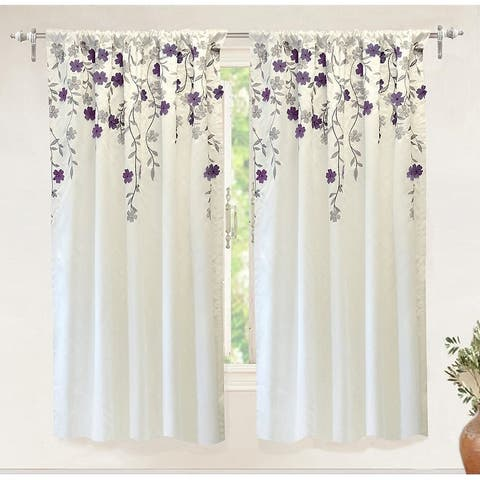 Porch & Den Oneida Floral Embroidered Faux Silk Window Curtain Panel